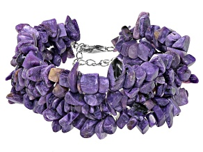Purple charoite sterling silver bracelet