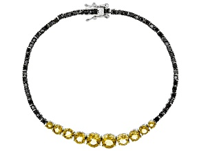 Yellow citrine rhodium over sterling silver bracelet 5.34ctw