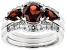 Red garnet rhodium over sterling silver 3-ring set 2.85ctw