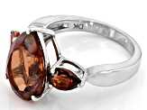 Red labradorite rhodium over silver ring 4.68ctw