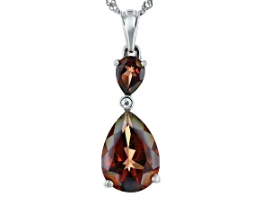Red labradorite rhodium over sterling silver pendant with chain 4.59ctw