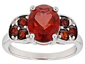 Red labradorite rhodium over sterling ring 2.77ctw