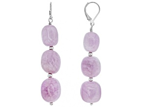 Pink kunzite rhodium over silver dangle earrings
