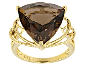 Brown smoky quartz sterling silver ring 8.42ct