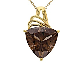 Brown smoky quartz sterling silver pendant with chain 8.42ct
