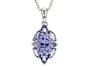 Blue tanzanite sterling silver pendant with chain 1.99ctw