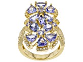 Blue tanzanite 18k yellow gold over silver ring 4.84ctw