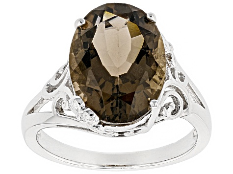 Brown Smoky Quartz Rhodium Over Sterling Silver Ring 4.42ct
