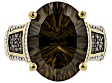 Brown Smoky Quartz 18k Gold Over Silver Ring 7.29ctw