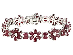 Red ruby rhodium over silver bracelet 29.96ctw