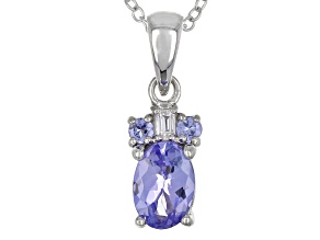 Blue tanzanite sterling silver pendant with chain 0.79ctw