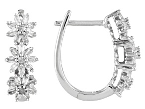 White Diamond Rhodium Over Sterling Silver Flower Hoop Earrings .45ctw