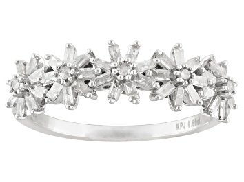 Picture of White Diamond Rhodium Over Sterling Silver Flower Band Ring 0.50ctw