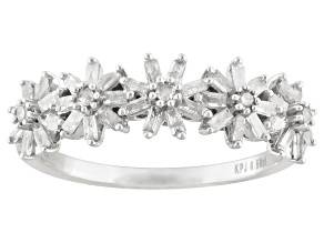 White Diamond Rhodium Over Sterling Silver Flower Band Ring 0.50ctw