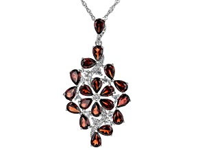 Red Garnet Rhodium Over Sterling Silver Pendant Chain 9.57ctw