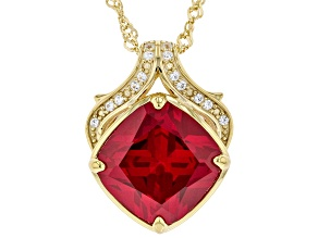 Red Lab Ruby and White Lab Sapphire 18K Yellow Gold Over Sterling Silver Pendant With Chain. 7.11ctw