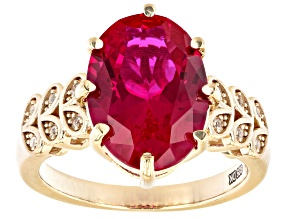 Red Lab Created Ruby 18K Yellow Gold Over Sterling Silver Ring 5.93ctw