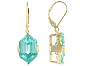 Green Lab Created Spinel 18k Yellow Gold Over Sterling Silver Earrings 13.48ctw