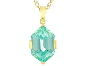 Green Lab Created Spinel 18k Yellow Gold Over Sterling Silver Pendant With Chain 6.74ctw