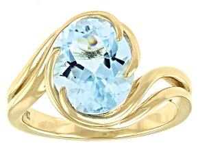 Blue Topaz 18k Yellow Gold Over Sterling Silver Solitaire Ring 3.74ct