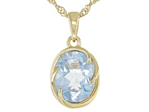 Blue Topaz 18k Yellow Gold Over Sterling Silver Solitaire Pendant With Chain 3.74ct