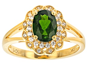 Green Chrome Diopside 18k Yellow Gold Over Silver Ring 1.53ctw