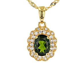 Green Chrome Diopside 18k Yellow Gold Over Sterling Silver Pendant With Chain 1.38ctw