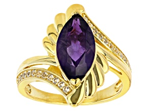Purple Amethyst 18k Yellow Gold Over Sterling Silver Ring 2.54ctw
