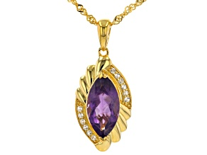 Purple Amethyst 18k Yellow Gold Over Sterling Silver Pendant With Chain 2.54ctw