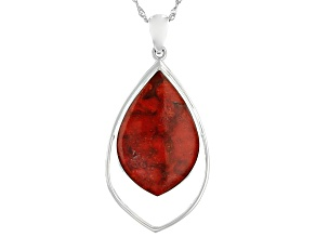Red Coral Rhodium Over Sterling Silver Pendant With Chain