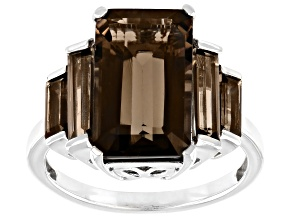 Smoky Quartz Rhodium Over Sterling Silver 5-Stone Ring 5.53ctw