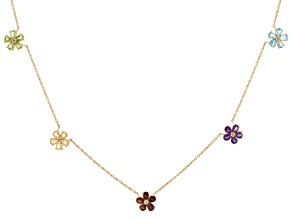 Multi Color Gemstone 18k Yellow Gold Over Sterling Silver Flower Station Necklace 3.67ctw