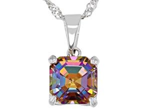 Multicolor Northern Lights™ Quartz Rhodium Over Silver Pendant Chain 2.00ct