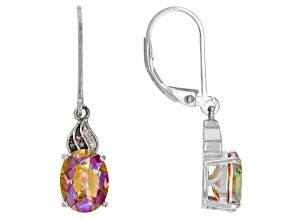 Multicolor Quartz Rhodium Over Sterling Silver Earrings 2.58ctw