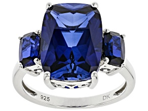 Blue Lab Sapphire Rhodium Over Sterling Silver Ring.  9.19ctw