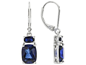 Blue Lab Sapphire Rhodium Over Sterling Silver Earrings. 5.29ctw