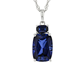 Blue Lab Sapphire Rhodium Over Sterling Silver Pendant With Chain. 8.63ctw