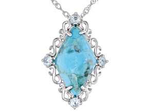 Blue Turquoise With 0.22ctw Sky Blue Topaz Rhodium Over Silver Pendant Chain