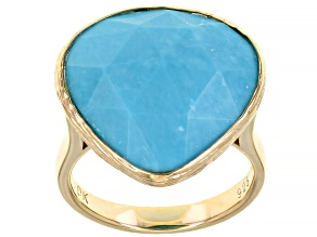 Blue Kingman Turquoise 18K Yellow Gold Over Sterling Silver Solitaire Ring