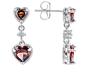 Red Garnet Rhodium Over Sterling Silver Earrings 3.28ctw