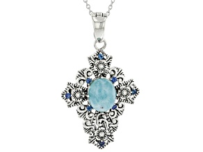 Blue Larimar and Blue Sapphire Rhodium Over Sterling Silver Cross Pendant With Chain. 0.31ctw