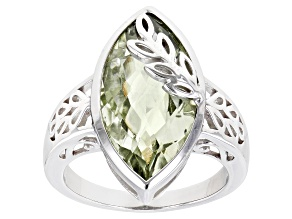 Green Marquise Prasiolite Rhodium Over Sterling Silver Solitaire Ring 5.10ct
