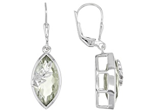 Green Marquise Prasiolite Rhodium Over Sterling Silver Soliatire Dangle Earrings 5.78ctw