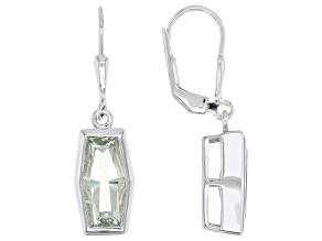 Green Prasiolite Rhodium Over Sterling Silver Soliatire Dangle Earrings 3.14ctw