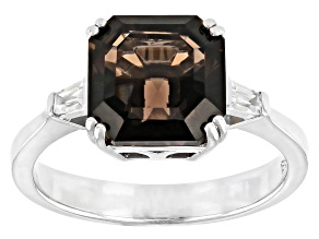 Brown Smoky Quartz And 0.25ctw White Zircon Rhodium Over Sterling Silver Ring 2.75ctw
