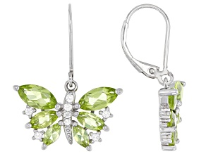 Green Peridot Rhodium Over Sterling Silver Butterfly Earrings 1.73ctw