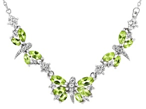 Green Peridot With Round White Zircon Rhodium Over Sterling Silver Butterfly Necklace 2.17ctw