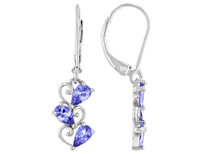Blue Tanzanite Rhodium Over Sterling Silver Earrings 1.02ctw