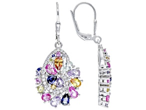 Multi-Color Lab Created Sapphire Rhodium Over Sterling Silver Earrings 4.80ct