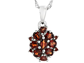 Red Garnet Rhodium Over Sterling Silver Pendant With Chain 1.71ctw